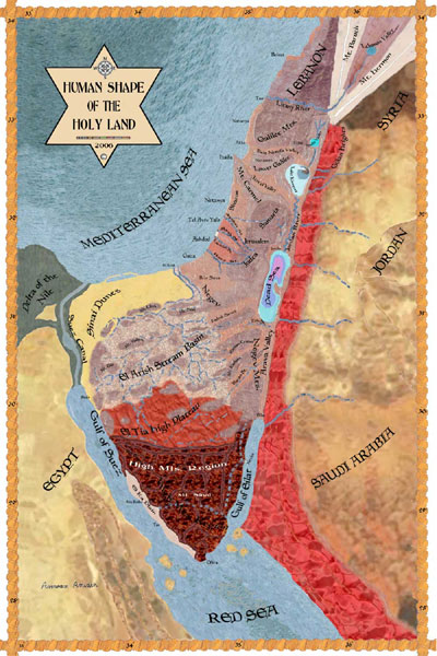 Human shape of the holy land land of israel map translate print the map gumiabroncs Images